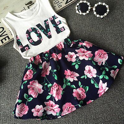 Toddler Kids Baby Girls Clothes T-shirt Vest Tops+Skirt Dress Summer Outfits Set
