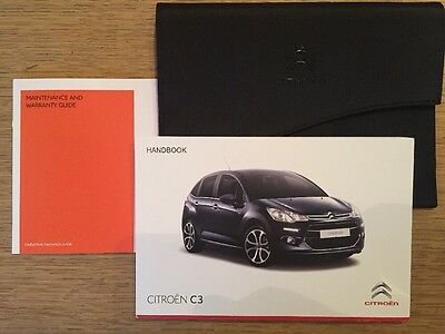 Genuine Citroen C3 Car Owner Manual Handbook & New Servicebook & Case Wallet
