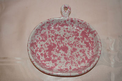 Bennington Potters Vermont Morning Glory Pink Agate Handled Snack Sandwich Plate