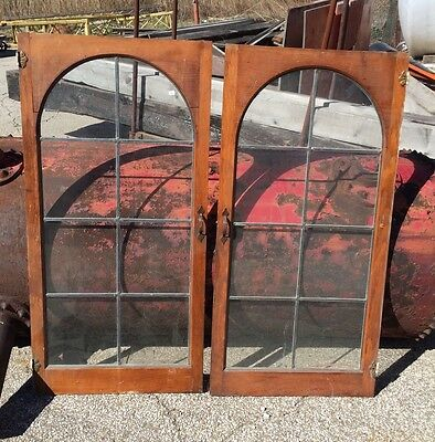 Pair Antique Oak Leaded Glass Cabinet Doors Arch Architectural Salvage