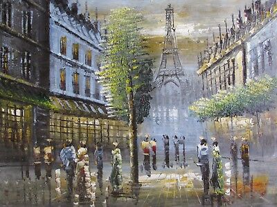 colorful old Paris oil painting canvas french cityscape original France modern