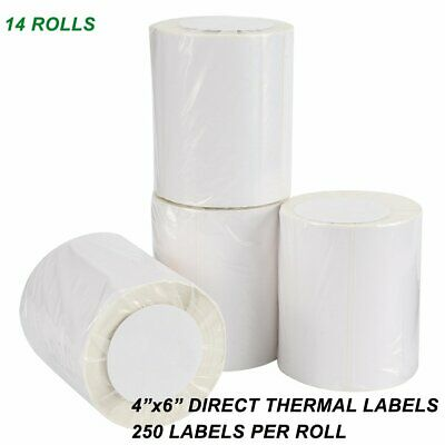 14 Rolls 4x6 Direct Thermal Shipping Labels 250/Roll For Zebra 2844 ZP450 Eltron