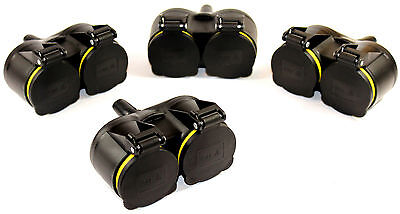 Rubber Double 3 Piece Schuko Coupling 220V IP44 Protected Connector Lid 705