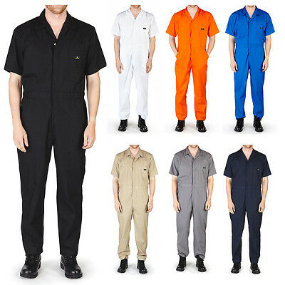 Mens Short Sleeve Coverall Overall Boilersuit Mechanic Protective Work Wear