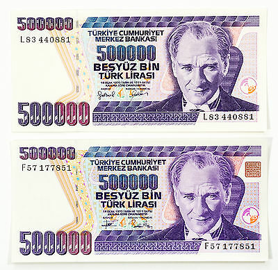 Set of 2 different Turkey 500,000 Lira P-208 & P-212 Au-Unc.