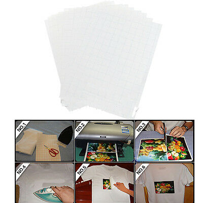 20 Sheets A4 Iron On Inkjet Print Heat Transfer Paper For Light Fabric T-Shir
