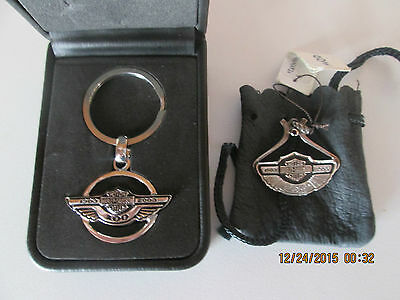 Harley Davidson 100Th Anniversary Employee Only Pendant And Key Ring Set New