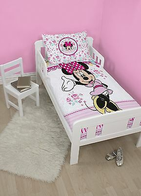 Minnie Mouse Cot Toddler Doona Duvet Quilt Cover Set, Licensed Disney Brand New