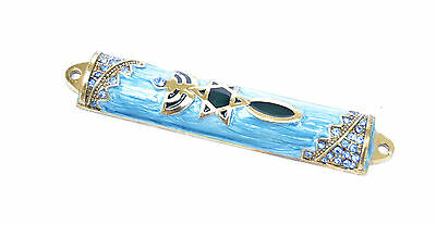 "small Enameled Mezuzah case Jeweled with Crystals Menorah/David Messianic.3""blue"