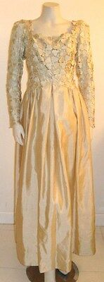 WERLE BEVERLY HILLS EVENING GOWN SILK W/ FLORAL LACE FRONT Vintage 1960's