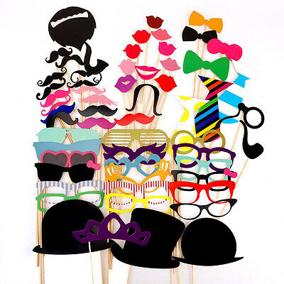 58PCS Colorful Props On A Stick Mustache Photo Booth Party Fun Wedding Favor  DM
