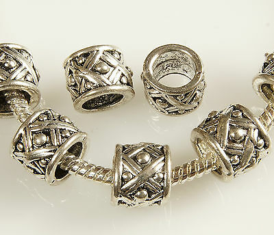 ANTIQUE SILVER~TUBE~TIBETAN STYLE~EUROPEAN~SPACER BEADS~8 x 8.5 MM ~ 5.8 MM HOLE