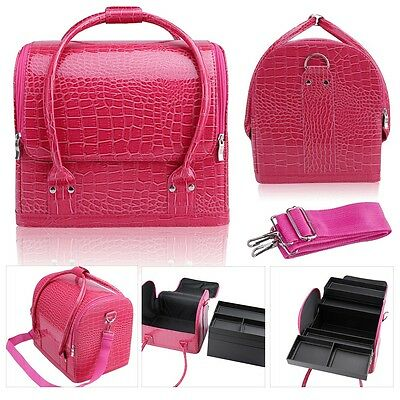 Large Beauty Make up Case Cosmetic Box Vanity Case Nail Tech Storage Bag Pink