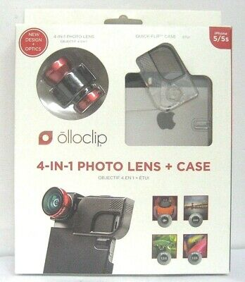 NEW olloclip 4-IN-1 Lens + Quick-Flip Clear Case for iPhone 5/5s/5SE Red Lens