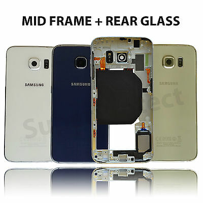 Genuine Samsung Galaxy S6 G920F Frame Bezel Chassis Housing + Rear Glass Cover