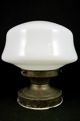 Antique 1930 40s School House Light Fixture Vtg Globe Art Deco Flush Chandelier