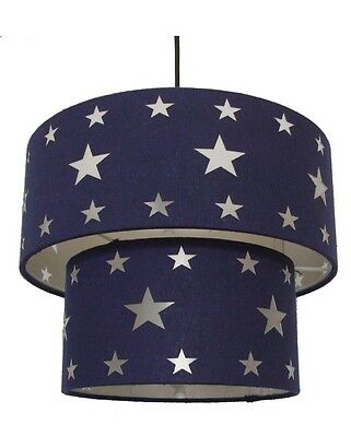 BNWT Blue Stars 2 Tier Celing Light Shade Pendant Home Gift Boys Bedroom Space