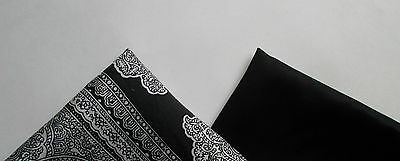 Tristan sold black pocket squares and a gray with black paisley  handkerchief