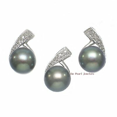 14k White Solid Gold Diamonds; Black Cultured Pearl Stud Earrings & Pendant TPJ