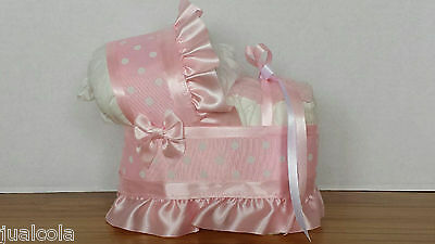 Pink White Polka Dots Dot Girl Diaper Bassinet Carriage Baby Shower Decoration