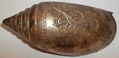 Antique Silver Seashell Shell Ocean Finely Decorated Scroll Leaaves Spiral Rare