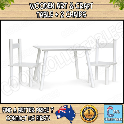 New -Wooden Art & Craft Table and 2 Chairs Set for Kids/Children/Toddler - White
