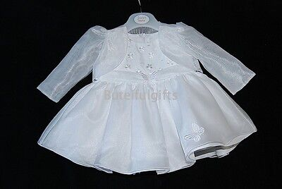 Baby Girls White Dress & Organza Bolero 0-18 Month Special Occasion Dress