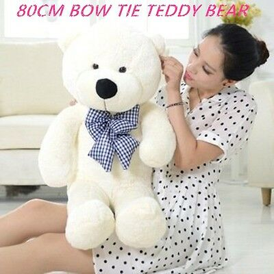 Lovely 80Cm White Teddy Bear Bow Tie Cuddly Soft Plush Toy Doll Stuffed Gift