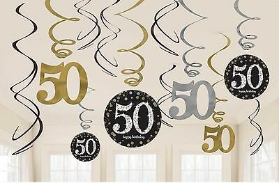 12 x 50TH BIRTHDAY HANGING PARTY SWIRLS BLACK SILVER GOLD DECORATIONS AGE 50