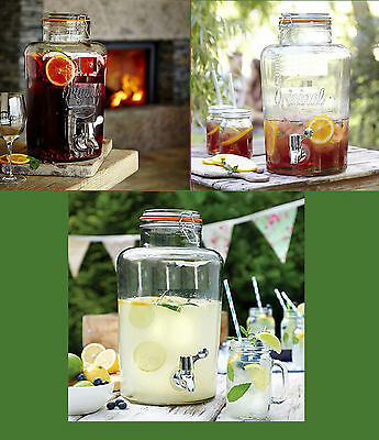 Vintage Glass Drinks Dispenser 7.6L For Beverages ideal for party's & barbecue