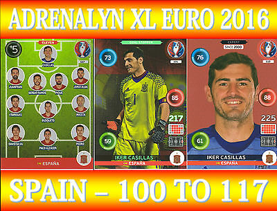 Panini Adrenalyn Xl Uefa Euro 2016 - Choose Your Spain Team Cards 100 To 117