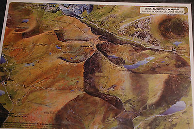 3D Aerial Panoramic A4 Fell Walking Map of Snowdonia No6 - un -laminated