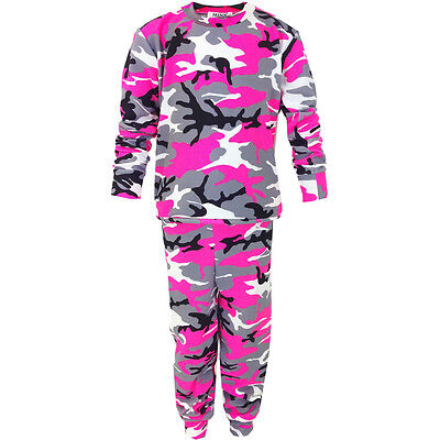 Ladies Women Camouflage Tracksuit Loungewear Neon Pink/Grey Tracksuite Training