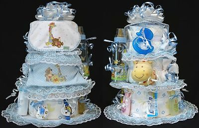 Little Suzys Zoo BABY SHOWER DIAPER CAKE bib outfit pacifier blanket bottle toy