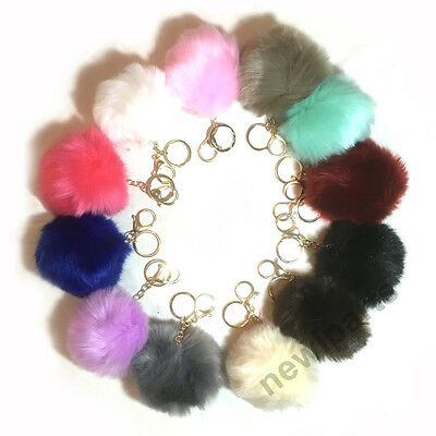 "Rabbit Fur Pom-pom Key Chain Bag Charm Fluffy Puff 4"" Ball Key Ring Car Pendant"