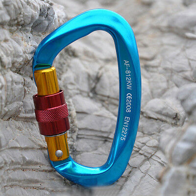 30KN Aluminum D Carabiner Screw Locking/Gate KEY LOCK for Rescue Climbing Caving
