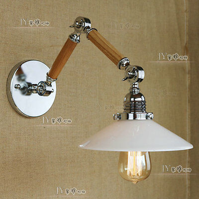 Vintage Swing Arm Sconce E27 Light White Glass Chrome Finish Wall Lamp Adjustabl