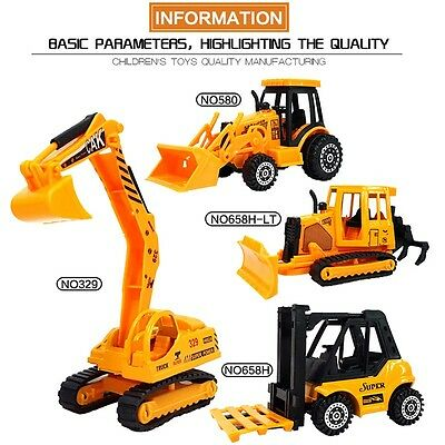 4 Construction Vehicle Truck Tractor Excavator Digger Forklift DieCast Model Toy