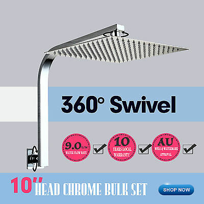 AU Super-thin 304 Stainless Steel Square Shower Head/Rose W/Gooseneck Arm Chrome