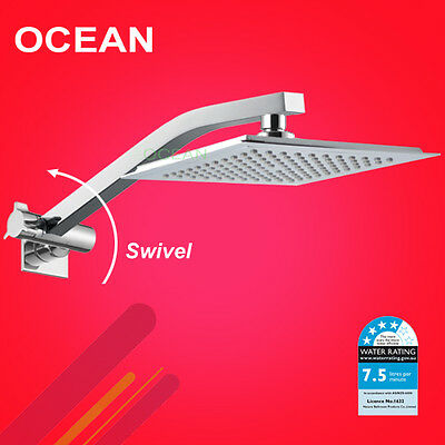WELS 9'' Square Waterfall ABS Shower Head Adjustable Wall Arm Up Down Set Chrome