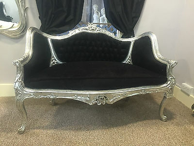 French Love Seat Sofa Shabby Chic Antique Style Carved Salon Window Velvet