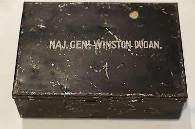 WW1 British Major General Winston Dugan 1st Baron Dugan Of Victoria Tin Box