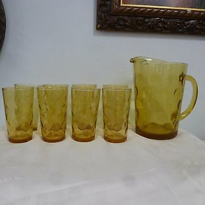 Vintage Pitcher and 8 Glasses Set Indiana Glass Co Amber Circles Dimples Indent