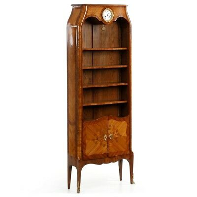 """Fine French Louis XV Style Antique Bookcase Cabinet w/ """"Thomire et Cie"""" Clock"""