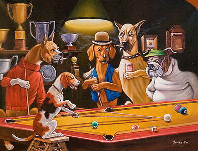 Comical Print - HEY ONE LEG ON THE FLOOR by Arthur Sarnoff - Dogs Playing Pool