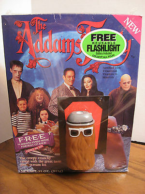The Addams Family Full Cereal Box w/ Cousin It Flashlight  -1991