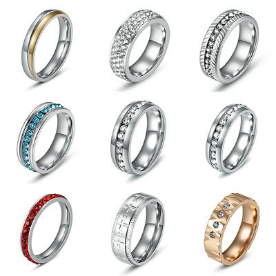 316L Stainless Steel Wedding Bands Rings Fashion Women Full Rhinestone Crystals