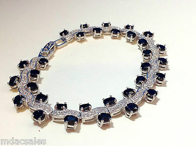 "NEW! 7½"" Sterling Silver Natural Sapphire/CZ Bracelet 13.76 ct"