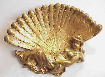 Antique Art Nouveau Nude Lady Bronze Tray. Business Card? Ashtray?