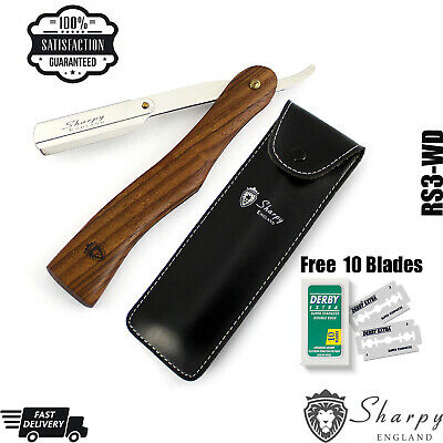 New Sharpy Luxury Wooden Barbers Cut Throat Razor Set Complete + 10 Blades Free